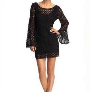 Free People Black Crochet Bell sleeve Dress Small